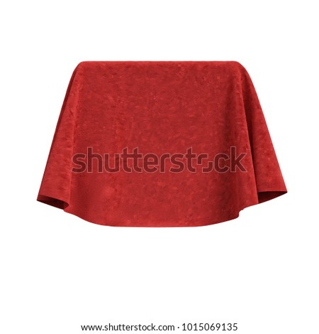 Box covered with red velvet fabric. Isolated on white background. Surprise, award, prize, presentation concept. Reveal the hidden object. Raise the curtain. Photo realistic 3D illustration.