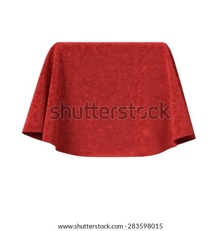 Box covered with red velvet fabric. Isolated on white background. Surprise, award, prize, presentation concept. Showroom stand. Reveal a hidden object. Raise the curtain. Photo realistic illustration.