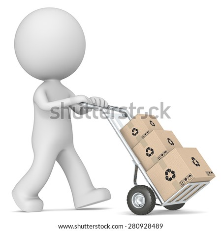 Box delivery. The dude 3D character pushing Hand Truck with pile of Cardboard Boxes.  - stock photo