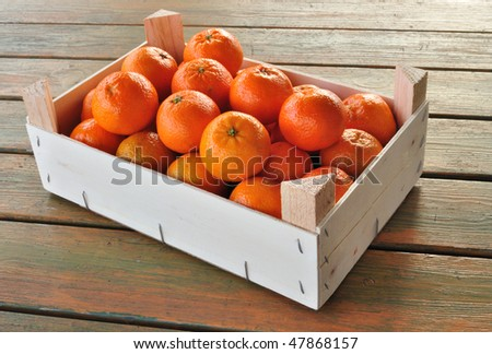 Box filled with tangerines - stock photo