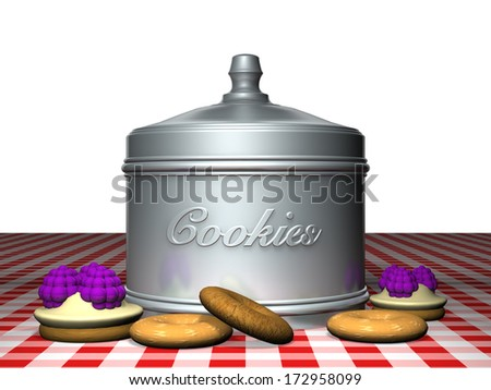 Box for cookies and biscuits on a checkered tablecloth. - stock photo