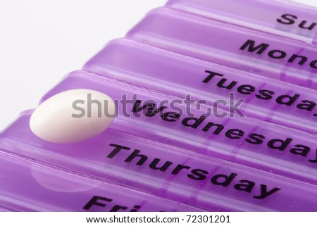 Box for medications showing days of the week.