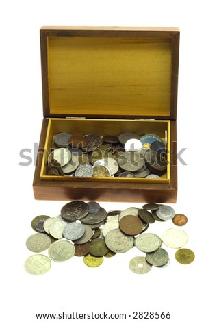 Box for money on a white background - stock photo