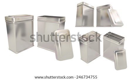 Box for tea or things metal tins blank close and open set isolated on white background.Easy editable for your design. - stock photo