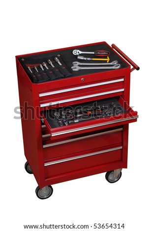 Box for the auto tools - stock photo