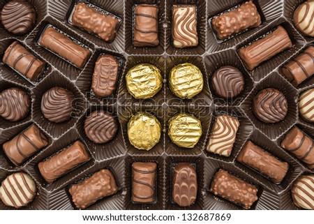 Box Full Of Chocolate Candies - stock photo
