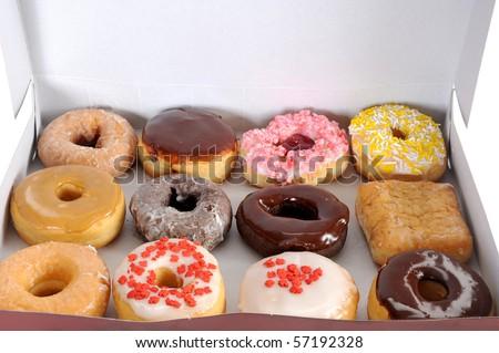 Box full of doughnuts, a dozen donuts - stock photo