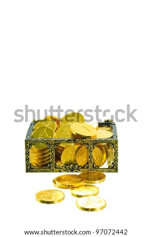 box full with gold euro money