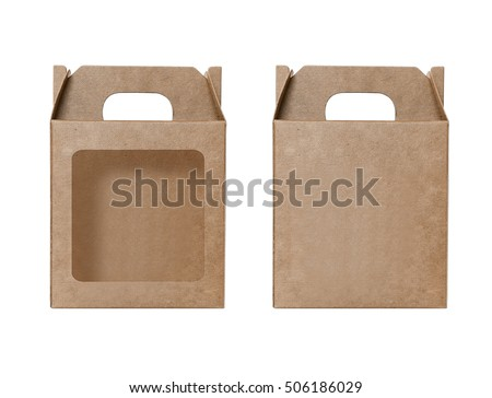 Box Gift Set Brown Paper, Cartons punched window open, Boxes natural material, Packaging paper, Gift Box Brown Paper, Industrial Packaging Paper carton, Empty kraft Box, Cardboard box white background