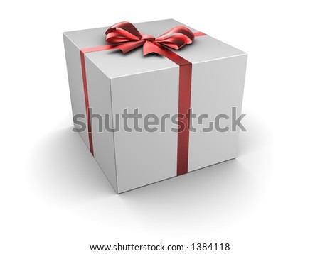 Box gift with satin bow - stock photo