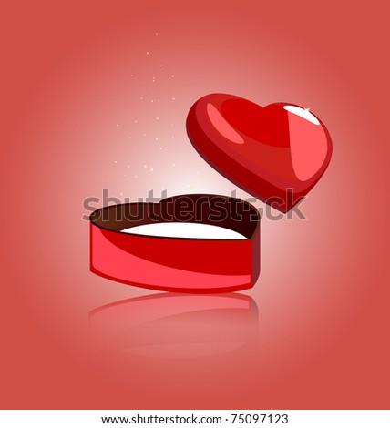 box heart - stock photo