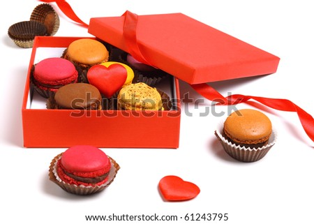 Box macaroons isolated on a white background - stock photo