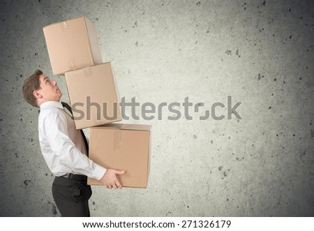 Box, Moving Office, Carrying. - stock photo