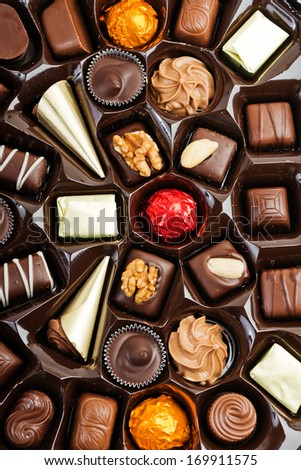 Box of Assorted Chocolates for Valentine's Day  - stock photo