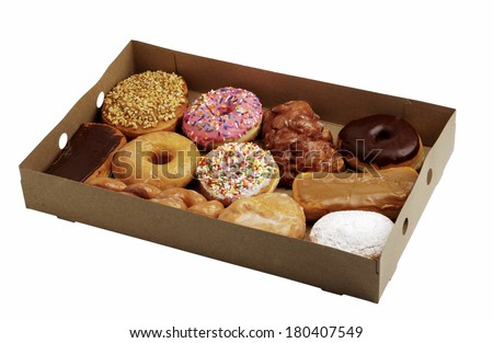 box of assorted doughnuts - stock photo