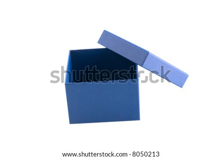 Box of blue cardboard wrapping little object - stock photo