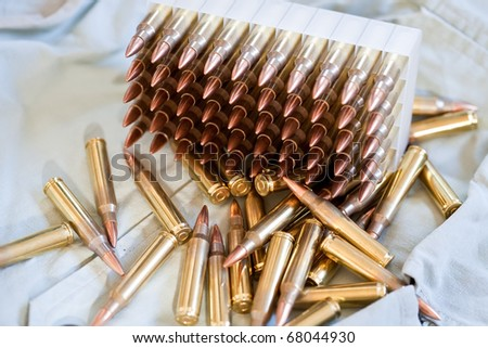 Box of .223 caliber ammo - stock photo