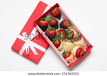 Box of chocolate covered strawberries - stock photo
