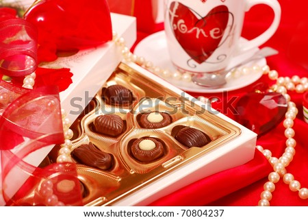 box of  chocolates and cup of coffee for Valentine`s day