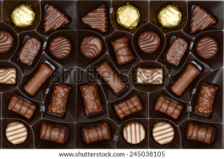 box of chocolates background - stock photo