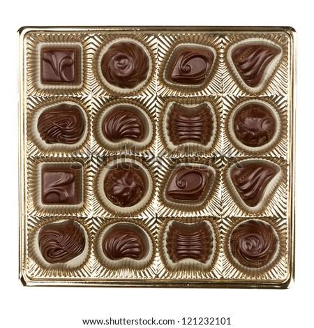 Box of chocolates isolated on white background - stock photo