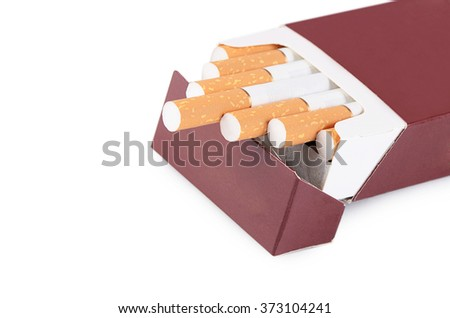 Box of cigarettes isolated on a white - stock photo