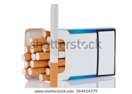 Box of cigarettes, isolated on a white background - stock photo