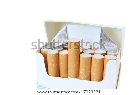 Box of cigarettes with one up isolated on white