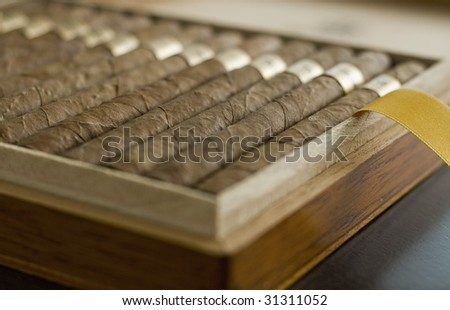 Box of Cuban Cigars - stock photo