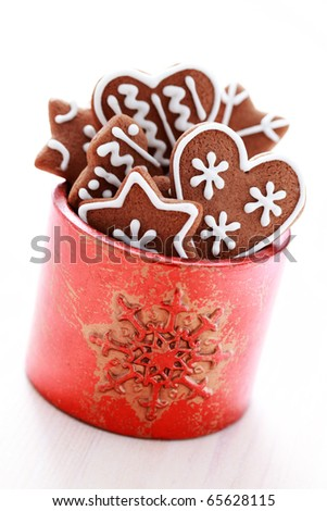 box of delicious gingerbreads - sweet food - stock photo