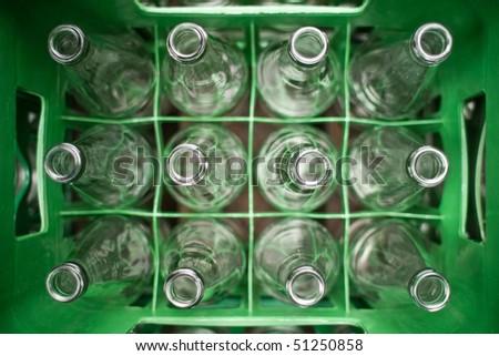 box of empty bottles - stock photo