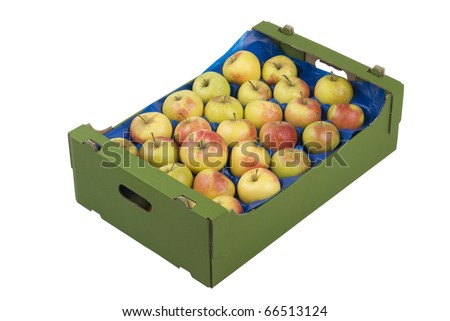 Box of fresh apples isolated on white background