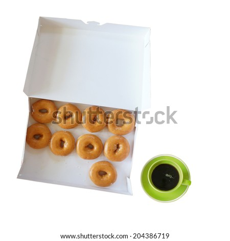 box of fresh donuts and hot coffee isolated on white - stock photo