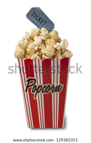 Box of fresh popcorn with two movie tickets isolated on white background. Clipping path included. Concept of movie time or entertainment.