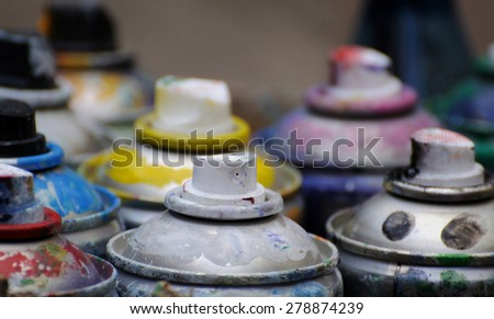 box of many color of cans - stock photo