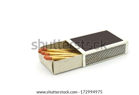 Box of matches isolated on white background - stock photo