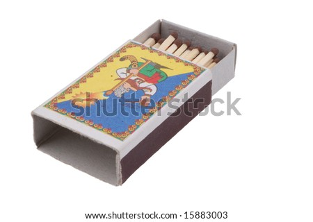 Box of matches on a white background