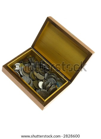 Box of money isolated on a white background - stock photo
