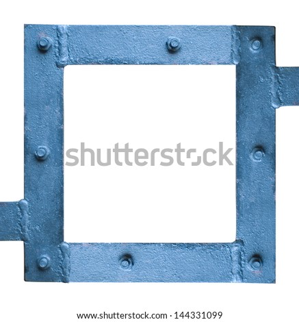 box of old iron, welded, with screws, in blue