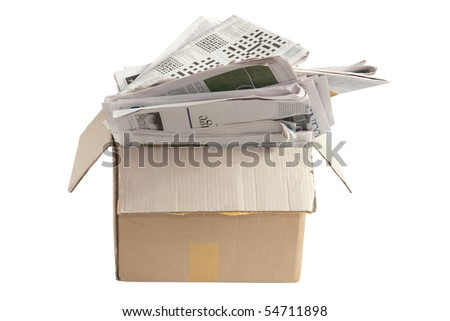 Box of Old Newspapers for Recycle on White Background - stock photo