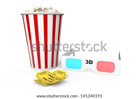 Box of Popcorn, 3D Glasses and an Admit One tickets on a white background - stock photo
