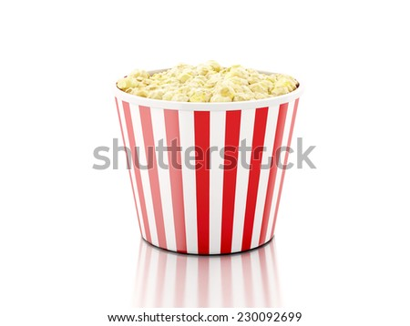 Box of popcorn. 3d illustration - stock photo