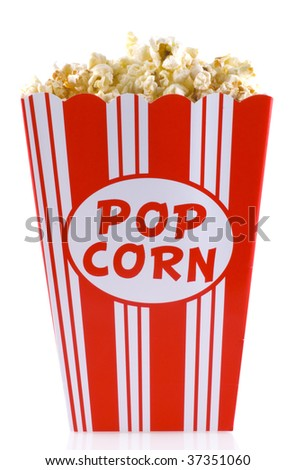Box of popcorn, isolated on a white background.