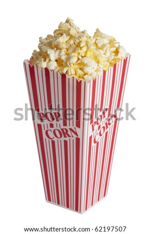Box of popcorn isolated  on a white background with a clipping path