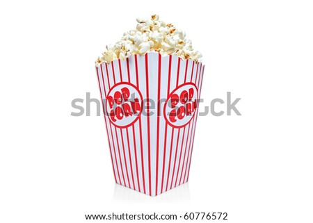 Box of red and white popcorn box isolated against white background - stock photo