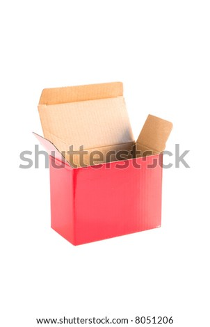 Box of red cardboard wrapping little object - stock photo