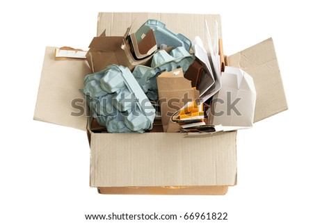 Box of Rubbish on White Background - stock photo