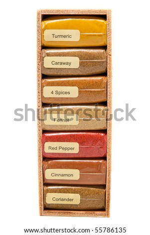 Box of spices on white background - stock photo