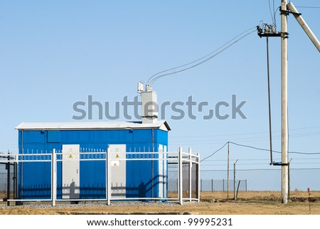 box of the electric transformer - stock photo