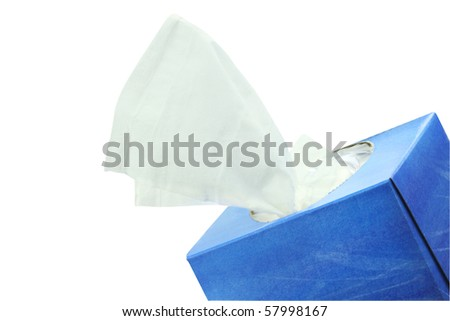 Box of tissue isolated on white with clipping path included. - stock photo
